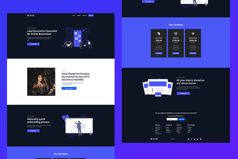 Picture of a React website design with purple and dark blue colors